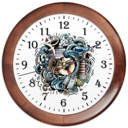 """Часы круглые из дерева """"Морские"""" - море, чайка, теплоход"""