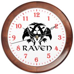 "Часы круглые из дерева ""Raven Brand"" - ворон, креативно, raven brand, бренд ворон, voron"