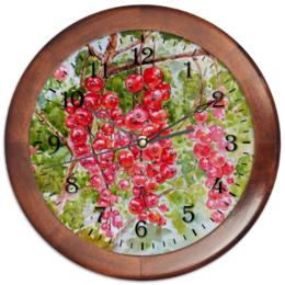 """Часы круглые из дерева """"Красная смородина """" - рисунок, природа, смородина, красная смородина"""