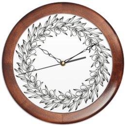"""Часы круглые из дерева """"Оливковый венок"""" - графика, орнамент, чб, венок, олива"""