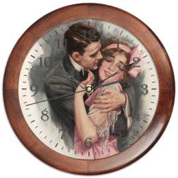 """Часы круглые из дерева """"Винтажная пара"""" - любовь, 14 февраля, винтаж, ко дню влюбленных, valentine's day"""