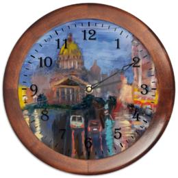 """Часы круглые из дерева """"Часы """"Исакиевская площадь дождливым вечером"""""""" - стиль, город, дождь, санкт-петербург"""