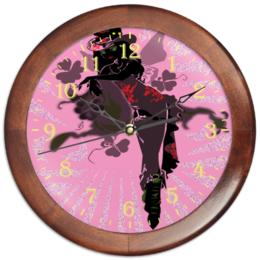 """Часы круглые из дерева """"Ядовитый плющ."""" - череп, девушка, ядовитый плющ, негритянка, трилистники"""