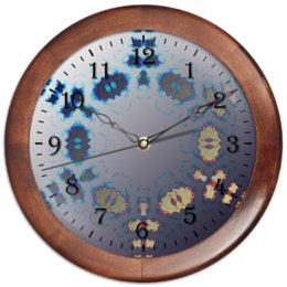 """Часы круглые из дерева """"Морозное Пламя"""" - новый год, подарок, абстракция, мандала, digital art"""