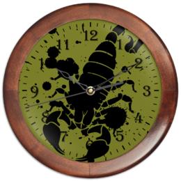 """Часы круглые из дерева """"Скорпион (24.10-21.11)"""" - крутой, оригинальный, стильный, скорпион, биология"""