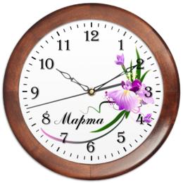 """Часы круглые из дерева """"на 8 Марта"""" - арт, цветы, 8 марта, маме, орхидея"""