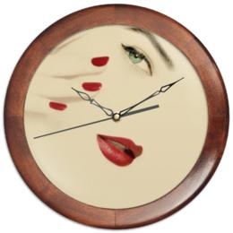 """Часы круглые из дерева """"Для салона красоты"""" - праздник, девушка, 14 февраля, 8 марта, работа"""