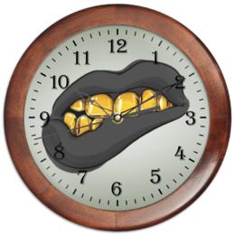 """Часы круглые из дерева """"Золотая ухмылка"""" - золото, губы, улыбка, рот, зубы"""