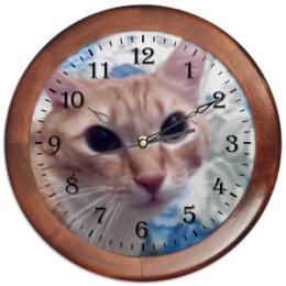 """Часы круглые из дерева """"Часовой кот"""" - кот, взгляд"""
