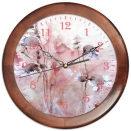 """Часы круглые из дерева """"Осенние цветы"""" - цветок, розовый, оригинальный, акварель, нежный"""