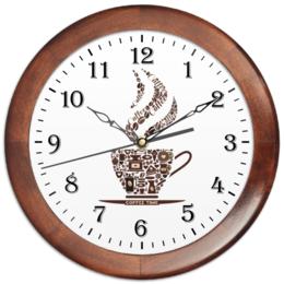 """Часы круглые из дерева """"Кофейные"""" - арт, чашка, рисунок, напиток, кофе"""