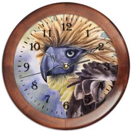 """Часы круглые из дерева """"Филиппинский орел """" - животные, птица, фиолетовый, орел, иллюстрация"""