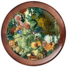 """Часы круглые из дерева """"Фрукты и цветы (Ян ван Хёйсум)"""" - цветы, картина, живопись, натюрморт, ян ван хёйсум"""