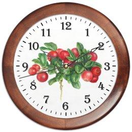 """Часы круглые из дерева """"Сочная брусника"""" - красные ягоды, растения, брусника, лето ягоды"""