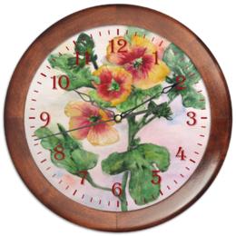 """Часы круглые из дерева """"Солнечная мальва"""" - цветок, желтый, оригинальный, акварель, нежный"""