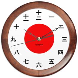 """Часы круглые из дерева """"Nippon """" - япония, japan"""