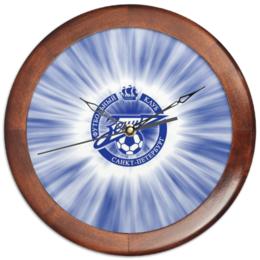 """Часы круглые из дерева """"FC Zenit"""" - зенит, футбол, арт, спорт, fc zenit, футбольный клуб, football"""