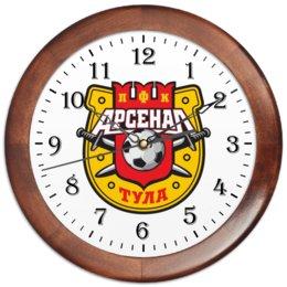 """Часы круглые из дерева """"Футбольный клуб,Тульский арсенал."""" - футбол, фанат, команда, арсенал, тула"""
