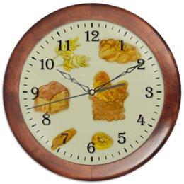 """Часы круглые из дерева """"Выпечка"""" - пончик, париж, круассан, булка, сочник"""