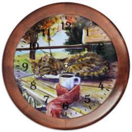"""Часы круглые из дерева """"Осеннее тепло"""" - кот, осень, чай, осенний парк"""