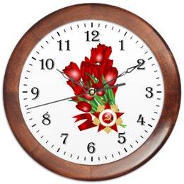 """Часы круглые из дерева """"9 мая"""" - праздник, цветы, 9 мая, день победы, орден"""