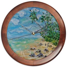 """Часы круглые из дерева """"Шри Ланка"""" - солнце, море, песок, бали, пальмы"""