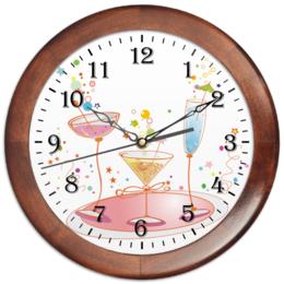 """Часы круглые из дерева """"напитки"""" - рисунок, часы, купить, напитки, нстенные"""