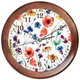 """Часы круглые из дерева """"Полевые цветы"""" - цветы, природа, полевые цветы"""