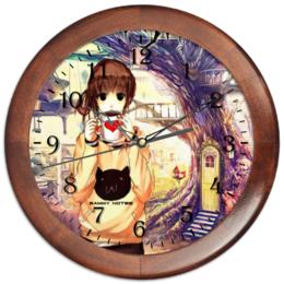 """Часы круглые из дерева """"Clock  SAMMY NOTES \circle\"""" - арт, стиль, рисунок, прикольные, оригинально, креативно"""