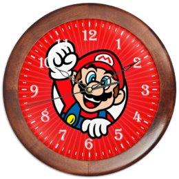 """Часы круглые из дерева """"MARIO"""" - компьютерные игры, супергерой, супер марио, игроманам"""