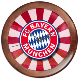 "Часы круглые из дерева ""FC Bayern"" - футбол, арт, football, бавария, футбольный клуб, bayern, munich"