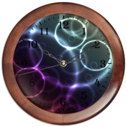 """Часы круглые из дерева """"Круги"""" - узор, круг, оригинальный, цветной, геометрический"""