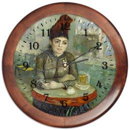 """Часы круглые из дерева """"Агостина Сегатори в кафе «Тамбурин»"""" - картина, портрет, ван гог, живопись, постимпрессионизм"""