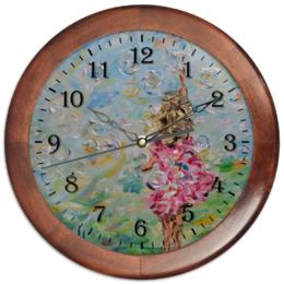 """Часы круглые из дерева """"Счастье"""" - девушка, дети, розовый, для любимой, подарок недорогой"""