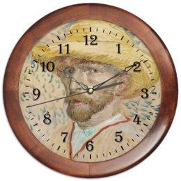 """Часы круглые из дерева """"Винсент ван Гог (автопортрет)"""" - картина, ван гог, живопись, гетерохромия"""