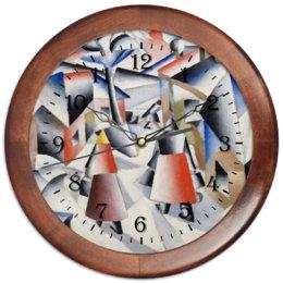 """Часы круглые из дерева """"Утро после вьюги в деревне (Малевич)"""" - картина, живопись, малевич, кубизм, модерн"""