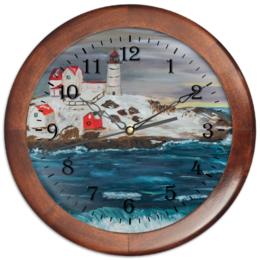 """Часы круглые из дерева """"На краю земли"""" - арт, зима, море, импрессионизм, маяк"""