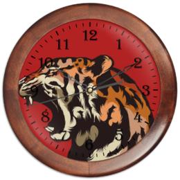 """Часы круглые из дерева """"Тигр арт"""" - арт, tiger, тигр, звери, дикая природа"""