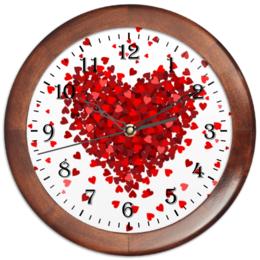 """Часы круглые из дерева """"сердце с лепестками """" - сердце, любовь, hearts, love, сердечки"""