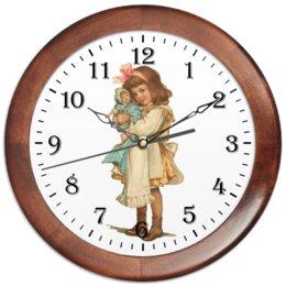 """Часы круглые из дерева """"Девочка с куклой."""" - игра, ретро, рисунок, кукла, девочка"""