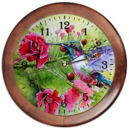 """Часы круглые из дерева """"Птичка Колибри"""" - цветы, птица, рисунок, природа, колибри"""