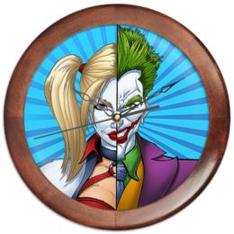 """Часы круглые из дерева """"Suicidesquad Design"""" - джокер, харли квинн, dc комиксы, отряд самоубийц, суперзлодеи"""