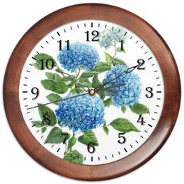 """Часы круглые из дерева """"Голубая гортензия"""" - вподарок, лето, цветы, растения"""