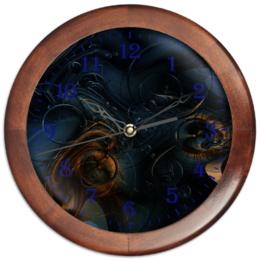 """Часы круглые из дерева """"Стимпанк. Абстракция"""" - оригинальный, паттерн, абстрактный, геометрический, фантазийный"""