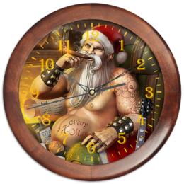 """Часы круглые из дерева """"Santa Biker"""" - новый год, дед мороз, борода, байкеры, курим"""