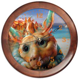 "Часы круглые из дерева ""Konverter"" - фантастика, зверек, валериан, тысяча планет, конвертер"