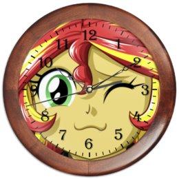 "Часы круглые из дерева ""Sunset Shimmer "" - my little pony, sunset shimmer, pony, гёрлз, дружба это чудо"