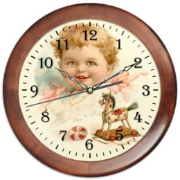 """Часы круглые из дерева """"Маленький мальчик с игрушками"""" - ретро, мальчик, игрушки, ребёнок, старинный"""