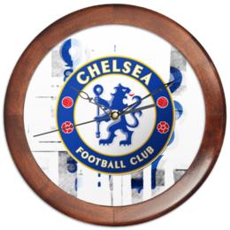 """Часы круглые из дерева """"FC Chelsea"""" - футбол, football, челси, chelsea, футбольный клуб, fc"""