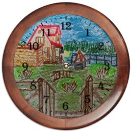 """Часы круглые из дерева """"Домик в деревне"""" - дом, деревня"""